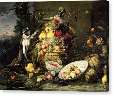 Three Monkeys Stealing Fruit Canvas Print by Frans Snyders