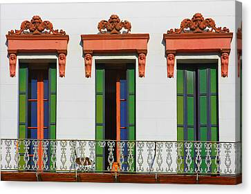 Three Of A Kind - The Windows In Old Sacramento Canvas Print by Christine Till