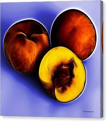 Three Peaches - Blue Canvas Print by James Ahn