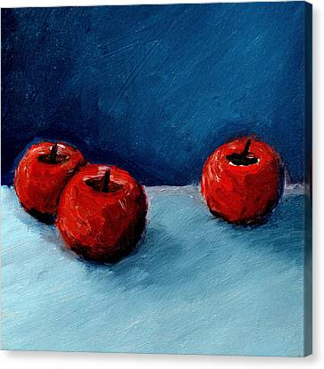 Three Red Apples Canvas Print by Michelle Calkins