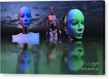 Three Robots Link To Form One Super Canvas Print by Mark Stevenson