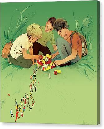 Three School Children Playing Canvas Print by Maya Shleifer