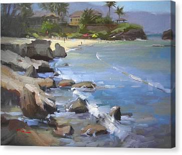 Three Tables Beach Canvas Print by Richard Robinson