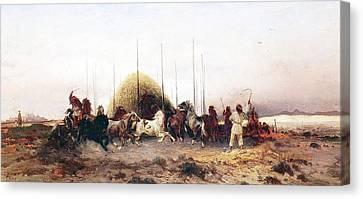 Threshing Wheat In New Mexico Canvas Print by Thomas Moran