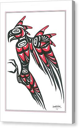 Thunder Bird Red And Black Canvas Print by Speakthunder Berry