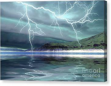 Thunderclouds And Lightning Move Canvas Print by Corey Ford