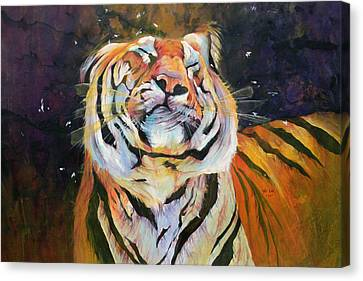 Tiger - Shaking Head  Canvas Print by Odile Kidd