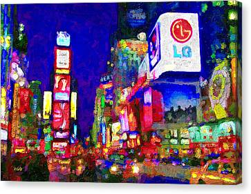 Times Square Canvas Print by Michael Petrizzo