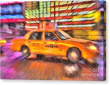 Times Square Taxi In Oil II Canvas Print by Clarence Holmes