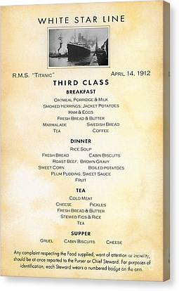 Titanic: Menu, 1912 Canvas Print by Granger