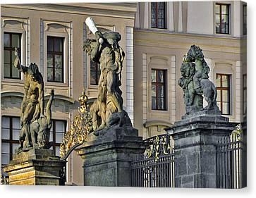 Titans Battling Outside Prague Castle Canvas Print by Christine Till