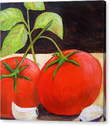 Tomato Basil And Garlic Canvas Print by Pauline Ross
