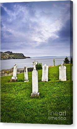 Tombstones Near Atlantic Coast In Newfoundland Canvas Print by Elena Elisseeva