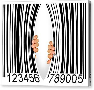 Torn Bar Code Canvas Print by Carlos Caetano