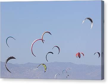 Torremolinos, Spain  Kite Surfing Canvas Print by Ken Welsh