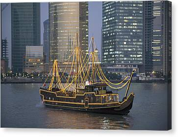 Tour Boat On The Huangpu River Canvas Print by Scott S. Warren