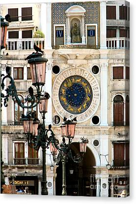 Tower Clock In Saint Mark's Square Canvas Print by Susan Holsan