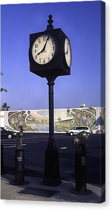 Town Clock Canvas Print by Sally Weigand