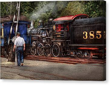 Train - Steam - The Conductors Job  Canvas Print by Mike Savad