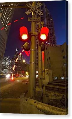 Train Crossing Lights At Dusk Canvas Print by Sven Brogren