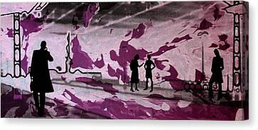 Train Station - Siebdruck Reise Bahn Kunst Canvas Print by Arte Venezia