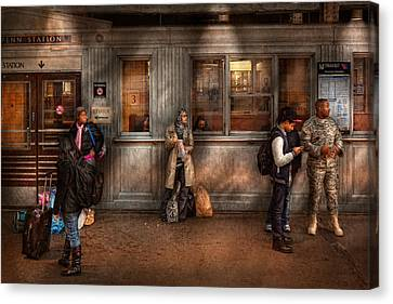 Train - Station - Waiting For The Next Train Canvas Print by Mike Savad