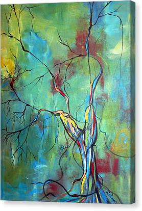 Tree Of Winding Color Canvas Print by Ruth Palmer