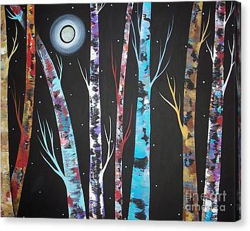 Trees And Moon Canvas Print by Karla Gerard