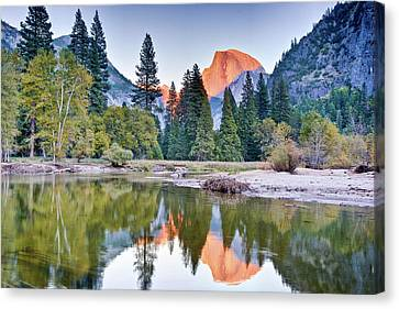 Trees And Mountain Reflection In River Canvas Print by Inspirational Images by Ken Hornbrook
