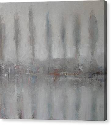 Trees In The Mist By The River Yar Canvas Print by Alan Daysh