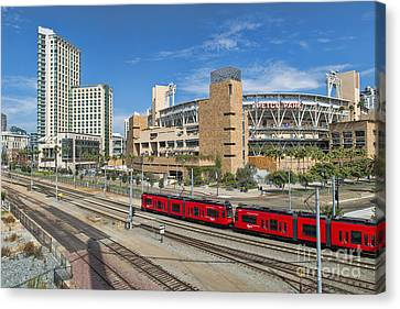 Trolley To Petco Park Canvas Print by Alan Crosthwaite
