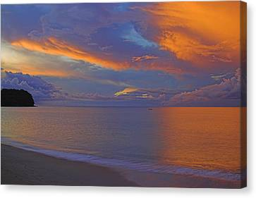 Tropical Sunset- St Lucia Canvas Print by Chester Williams