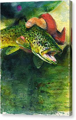 Trout In Hand Canvas Print by John D Benson