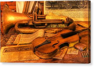 Trumpet And Stradivarius At Rest - Violin - Nostalgia - Vintage - Music -instruments  Canvas Print by Lee Dos Santos