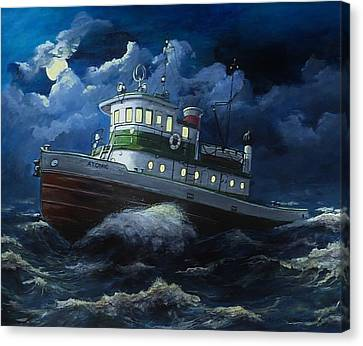 Tug Boat On Rough Water Canvas Print by Virginia Sonntag