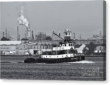 Tugboat Captain D In Newark Bay II Canvas Print by Clarence Holmes