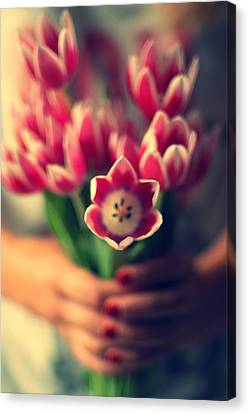 Tulips In Woman Hands Canvas Print by Photo by Ira Heuvelman-Dobrolyubova