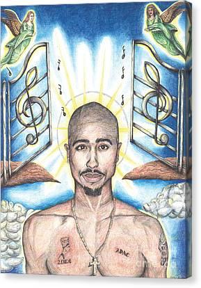 Tupac In Heaven Canvas Print by Debbie DeWitt