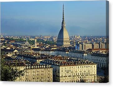 Turin, Cityscape With The Mole Antonelliana Canvas Print by Bruno Morandi