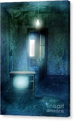 Tv And Bare Lightbulb Canvas Print by Jill Battaglia