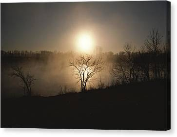 Twilight View Of Fog Over The Tennessee Canvas Print by Sam Abell