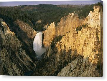 Twilight View Of Lower Yellowstone Canvas Print by Michael S. Lewis