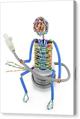 Twisted Man From A Computer Cable Canvas Print by Aleksandr Volkov