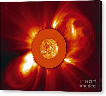 Two Coronal Mass Ejections Canvas Print by Solar & Heliospheric Observatory consortium (ESA & NASA)