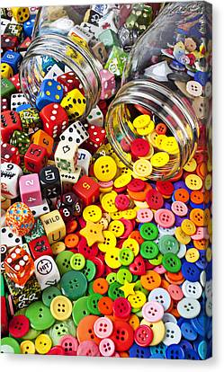 Two Jars Dice And Buttons Canvas Print by Garry Gay