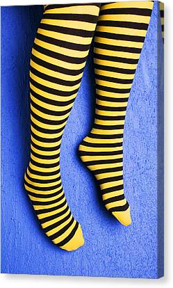 Two Legs Against Blue Wall Canvas Print by Garry Gay