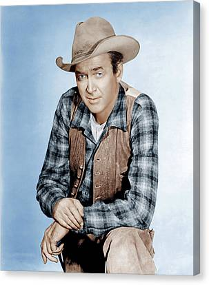 Two Rode Together,  James Stewart, 1961 Canvas Print by Everett