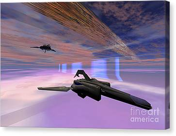 Two Starships Warp Along Space Enegy Canvas Print by Corey Ford