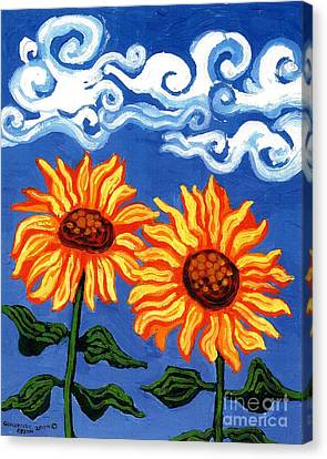 Two Sunflowers Canvas Print by Genevieve Esson