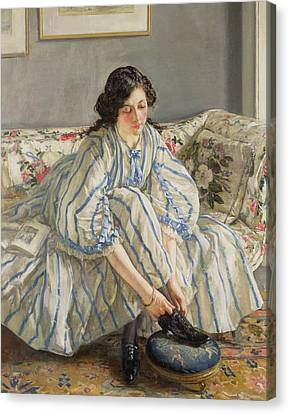 Tying Her Shoe Canvas Print by Sir Walter Russell